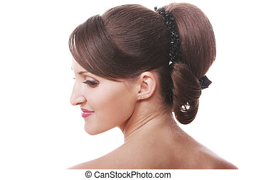 Brunette head and shoulders - Brunette woman head and...