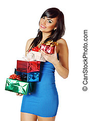 Brunette holding gifts