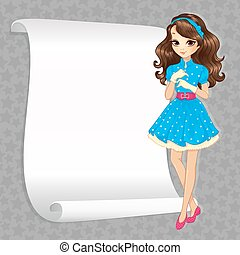 Brunette Housewife With Banner - Vector illustration of ...