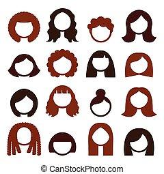 brunette, icônes, cheveux, perruques, styles