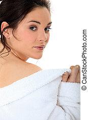 Brunette in a bathrobe