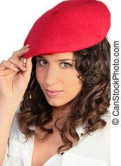 Brunette in a red beret
