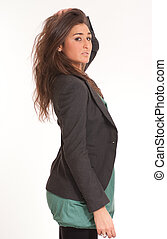 Brunette in a suit jacket