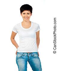 brunette in a white shirt
