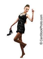 Brunette in black dress