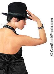 Brunette in black hat
