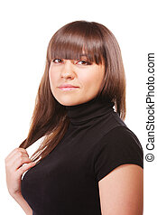 Brunette in black sideview