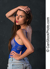Brunette in blue