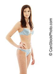 brunette in blue lingerie #2