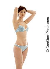 brunette in blue lingerie #3