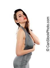 Brunette in grey dress