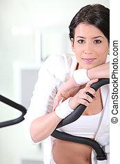 brunette in gym