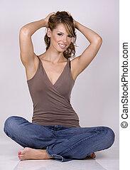 brunette in jeans