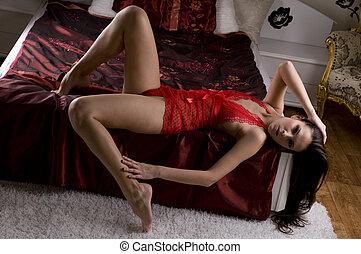 Brunette in lingerie