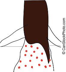 Brunette in polka dot dress