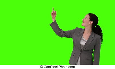 Brunette in suit looking at the sky - Chromakey footage of a...