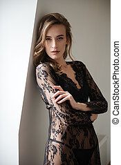 brunette, incroyable, position femme, intérieur, sexy