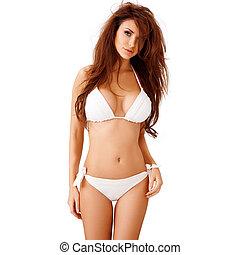 brunette, jeune, bikini blanc, sexy