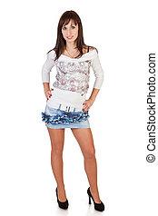 brunette, jupe, mini, fond, sexy, blanc, femme, joli