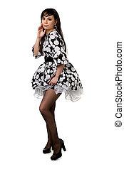 brunette, jurkje, black , mooi, witte
