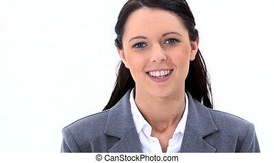 brunette, kijkende vrouw, op, de, fototoestel, is, het...