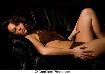 Brunette lay-down in lingerie