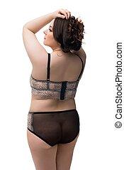 brunette, lingerie, dentelle, noir, graisse, vue arrière