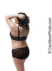 brunette, lingerie, isolé, graisse, noir, vue arrière
