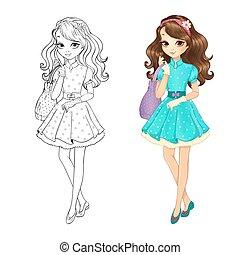 brunette, livre, coloration, mignon