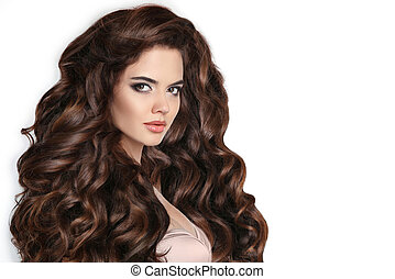 Beautiful woman with wavy healthy hair isolated on studio ...
