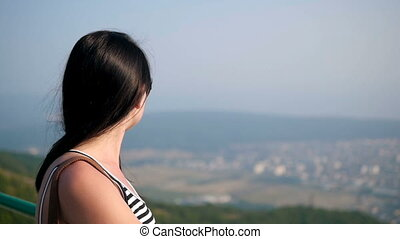 Brunette Long Hair Female In Sunglasses Posing On The Lookout Mountain