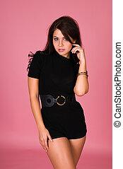 Brunette - Lovely young brunette dressed all in black