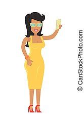 brunette, lunettes soleil, isolé, élégant, femme, riche