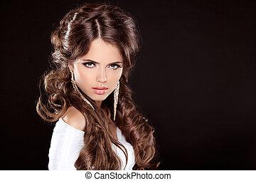 brunette., luxo, mulher, com, longo, marrom, cacheados, hair., modelo moda, retrato, isolado, ligado, um, pretas, experiência., deslumbrante, lady.