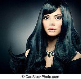 Brunette Luxury Girl. Healthy Long Black Hair and Holiday Makeup