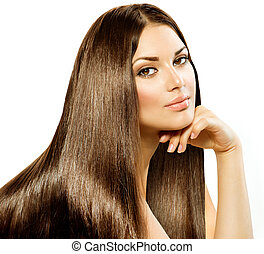 brunette, meisje, hair., vrijstaand, mooi, lang, recht, witte