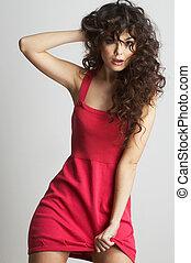 brunette, meisje, in, rode jurk, in, rood