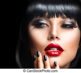 brunette, meisje, sensueel, makeup., portrait., lippen, face., rood, mooi