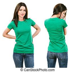 brunette, met, leeg, groen hemd