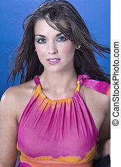 Brunette Model - A brunette model in a studio environment