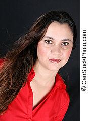 Brunette Model - Beautiful Brunette model wearing a red ...