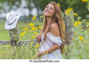 Brunette Model In A Field