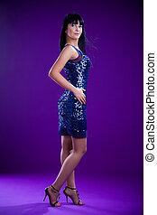 brunette model in studio
