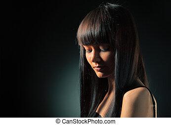 Brunette model - Portrait of beautiful model with long ...