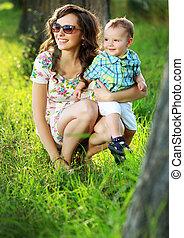 Brunette mom with her lovely child