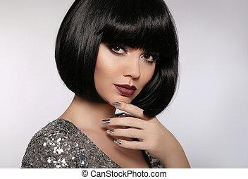 brunette, nails., maquillage, cheveux, lèvres, mode,...