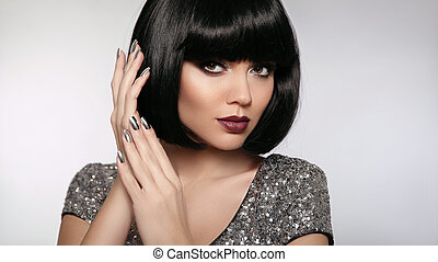 brunette, nails., maquillage, cheveux, lèvres, mode, ...
