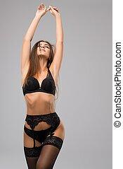 brunette, noir, sous-vêtements, well-shaped, vue
