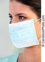 Brunette nurse wearing mask