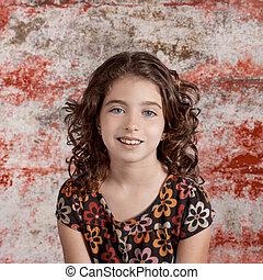 brunette, ouderwetse , retro, verticaal, het glimlachen meisje, geitje